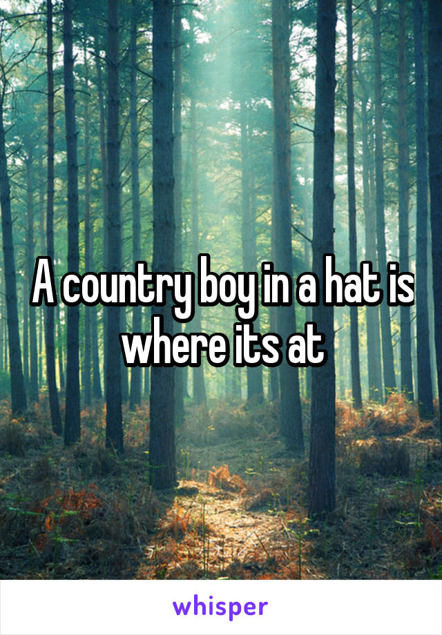 A country boy in a hat is where its at