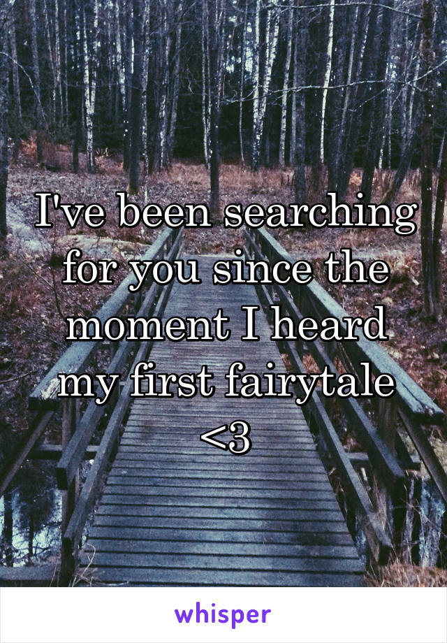 I've been searching for you since the moment I heard my first fairytale <3
