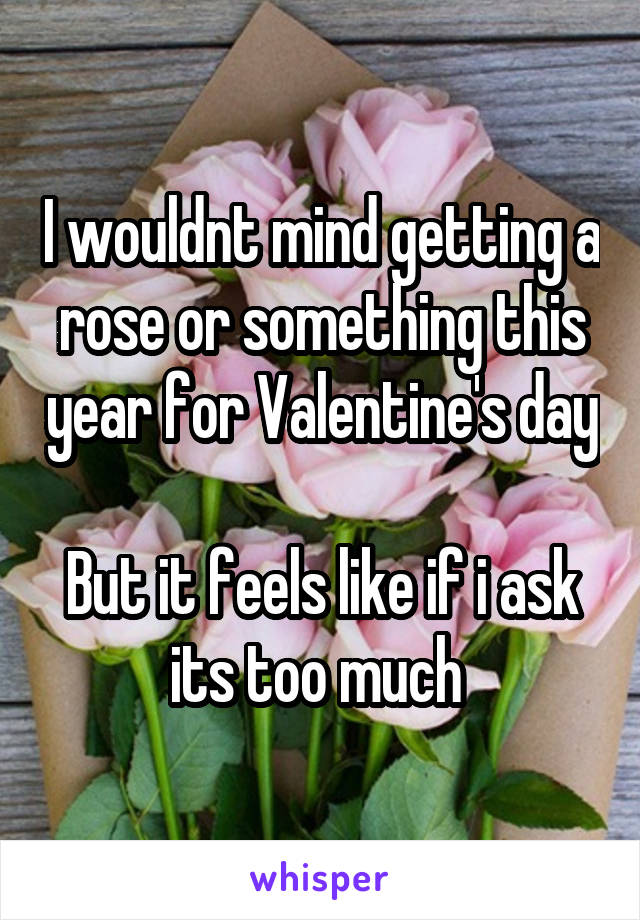 I wouldnt mind getting a rose or something this year for Valentine's day  But it feels like if i ask its too much