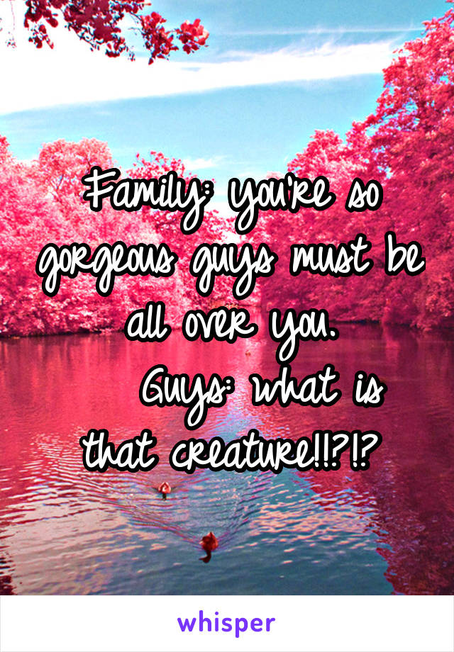 Family: you're so gorgeous guys must be all over you.    Guys: what is that creature!!?!?