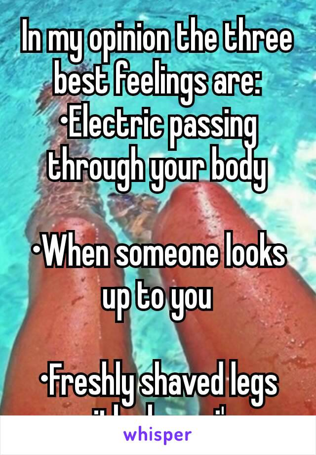 In my opinion the three best feelings are: •Electric passing through your body  •When someone looks up to you  •Freshly shaved legs with clean pj's