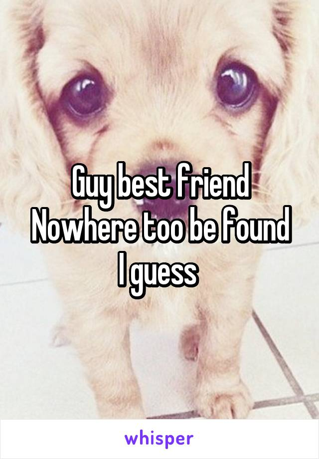 Guy best friend Nowhere too be found I guess