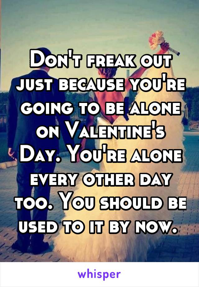 Don't freak out just because you're going to be alone on Valentine's Day. You're alone every other day too. You should be used to it by now.