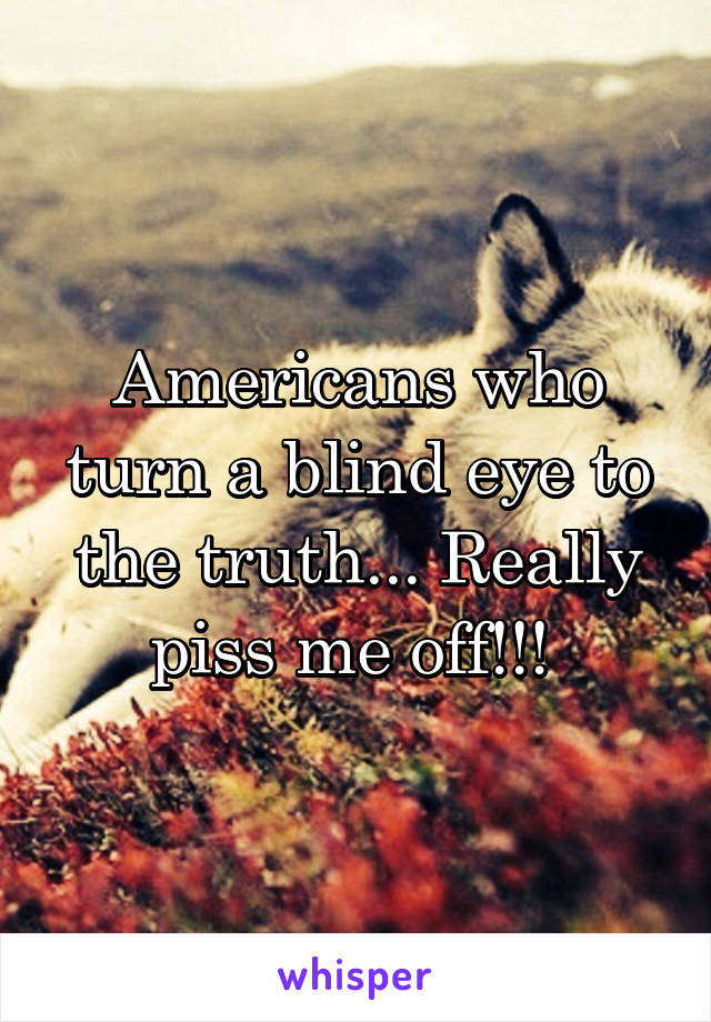 Americans who turn a blind eye to the truth... Really piss me off!!!