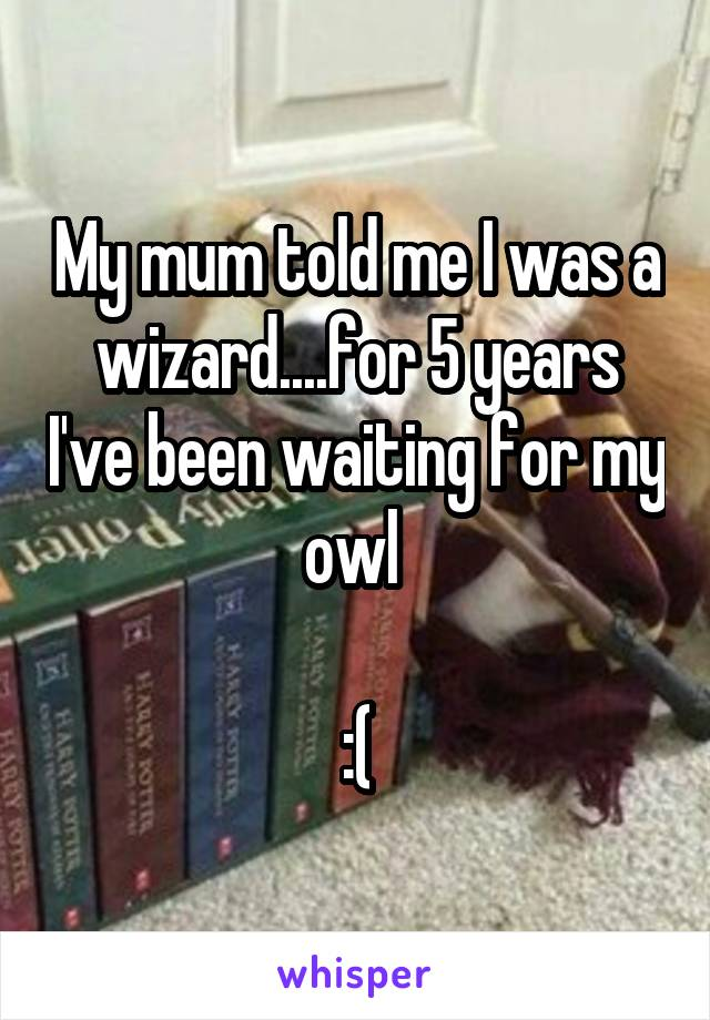 My mum told me I was a wizard....for 5 years I've been waiting for my owl   :(