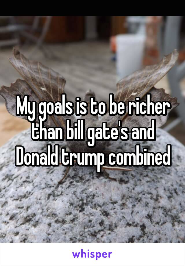 My goals is to be richer than bill gate's and Donald trump combined