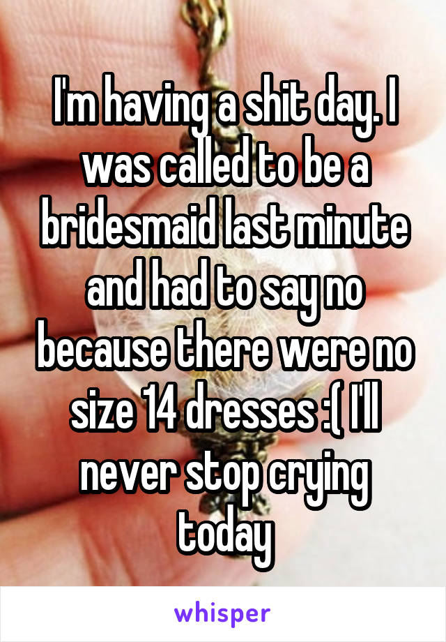 I'm having a shit day. I was called to be a bridesmaid last minute and had to say no because there were no size 14 dresses :( I'll never stop crying today