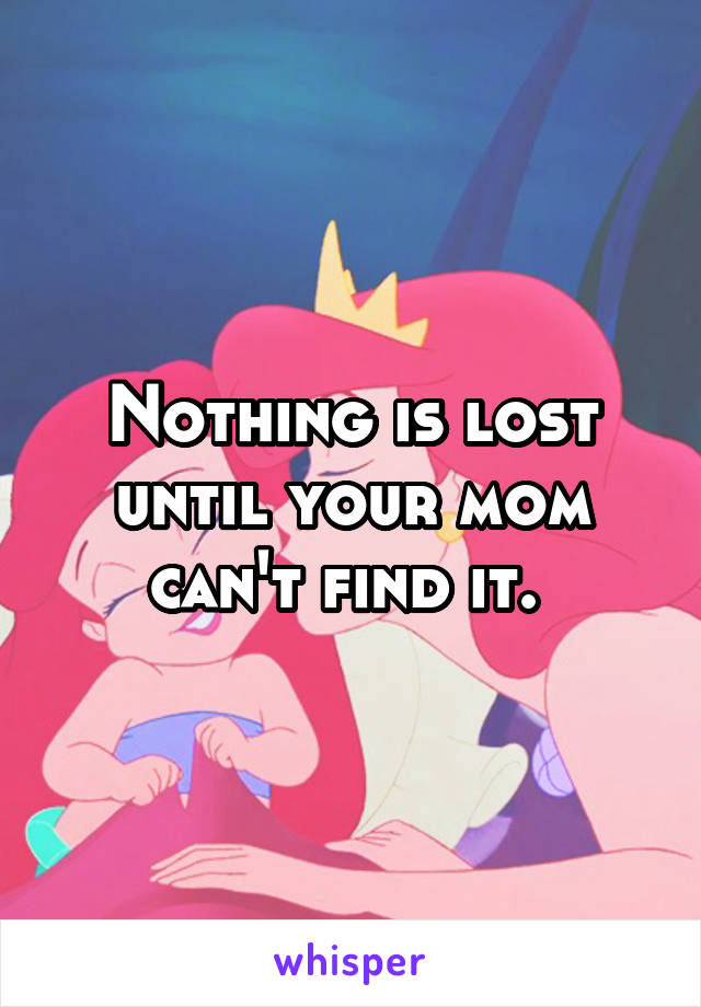 Nothing is lost until your mom can't find it.