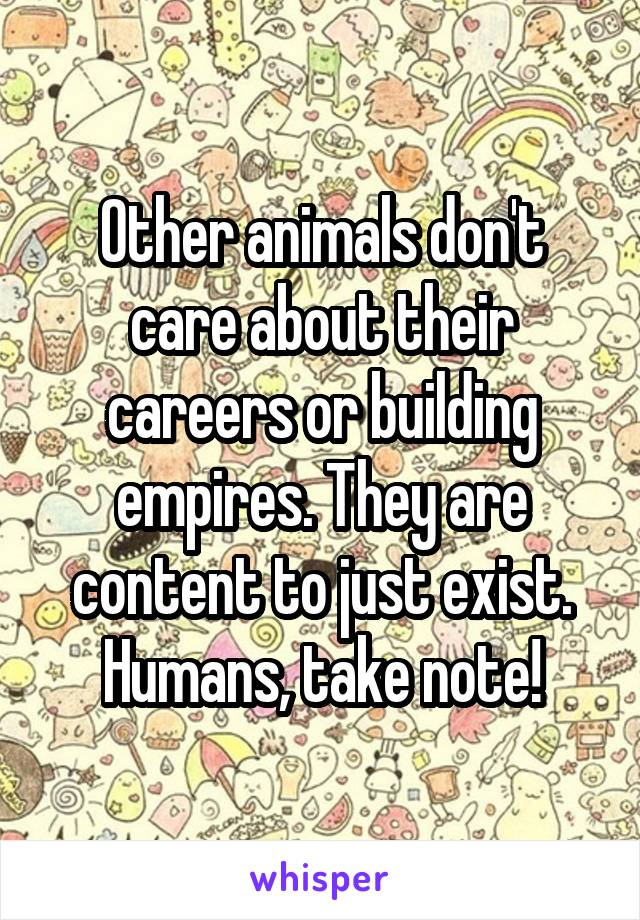 Other animals don't care about their careers or building empires. They are content to just exist. Humans, take note!