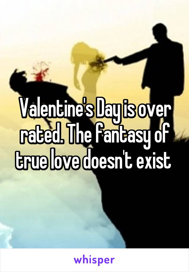 Valentine's Day is over rated. The fantasy of true love doesn't exist