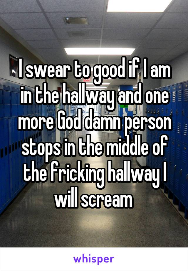 I swear to good if I am in the hallway and one more God damn person stops in the middle of the fricking hallway I will scream