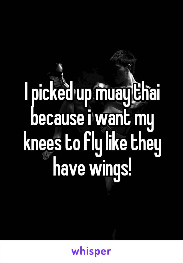 I picked up muay thai because i want my knees to fly like they have wings!