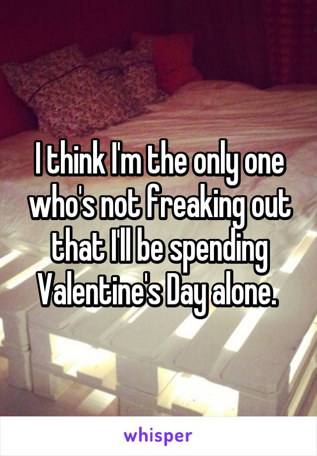 I think I'm the only one who's not freaking out that I'll be spending Valentine's Day alone.