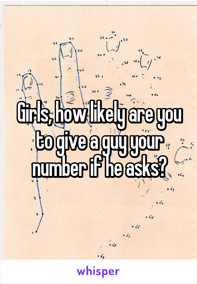 Girls, how likely are you to give a guy your number if he asks?
