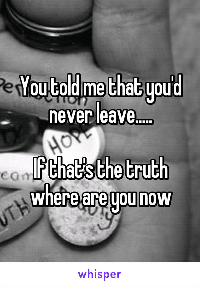 You told me that you'd never leave.....  If that's the truth where are you now