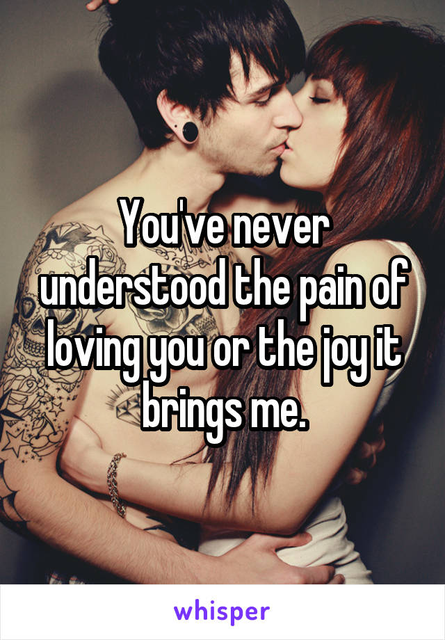 You've never understood the pain of loving you or the joy it brings me.
