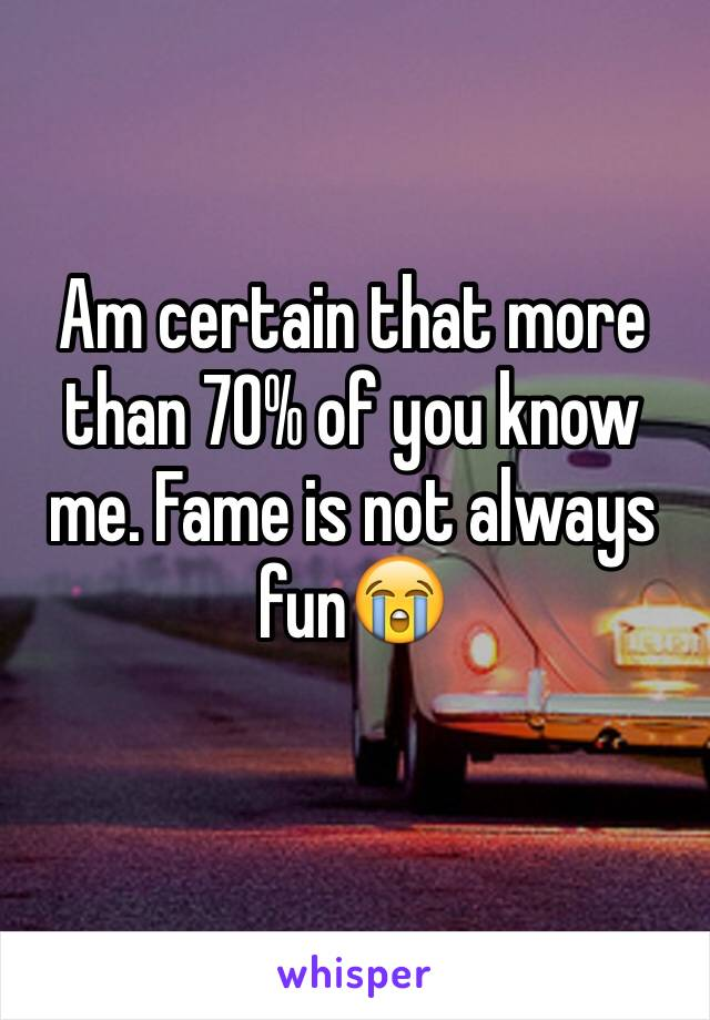 Am certain that more than 70% of you know me. Fame is not always fun😭