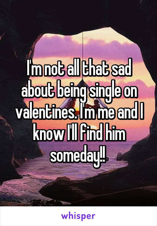 I'm not all that sad about being single on valentines. I'm me and I know I'll find him someday!!