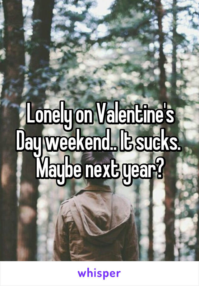 Lonely on Valentine's Day weekend.. It sucks.  Maybe next year?