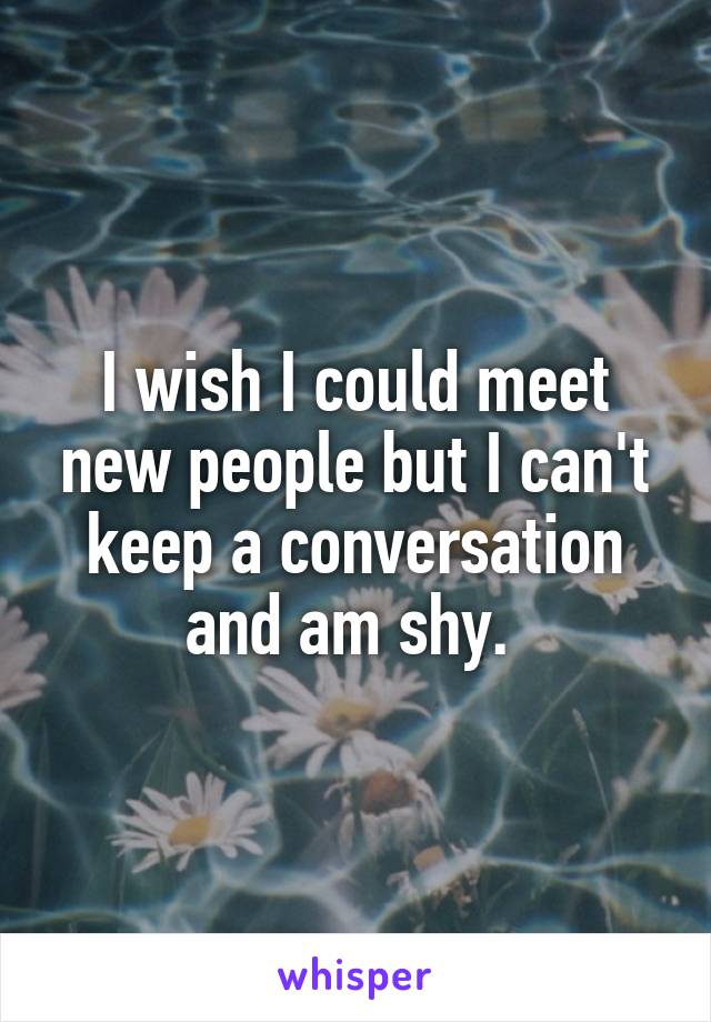 I wish I could meet new people but I can't keep a conversation and am shy.