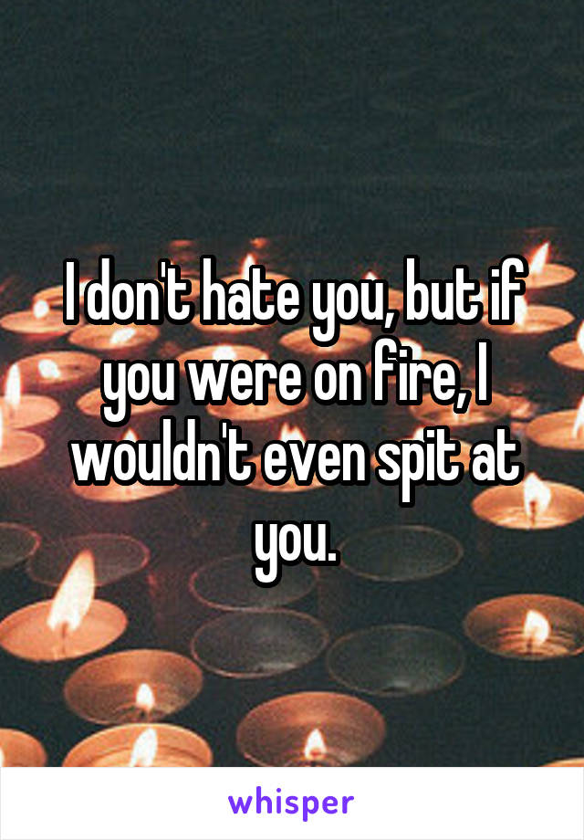 I don't hate you, but if you were on fire, I wouldn't even spit at you.