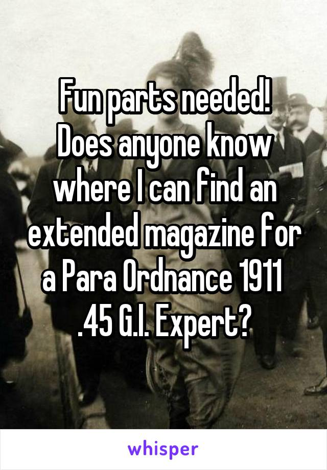 Fun parts needed! Does anyone know where I can find an extended magazine for a Para Ordnance 1911  .45 G.I. Expert?