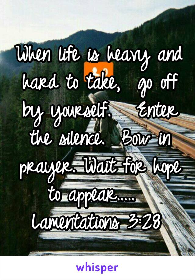 When life is heavy and hard to take,  go off by yourself.   Enter the silence.  Bow in prayer. Wait for hope to appear.....   Lamentations 3:28