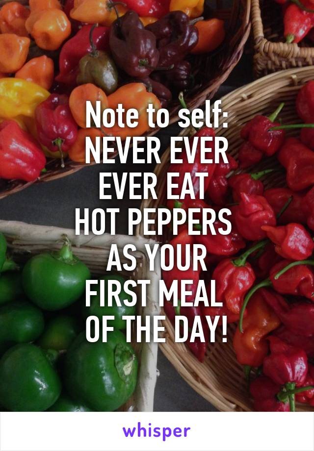 Note to self: NEVER EVER EVER EAT  HOT PEPPERS  AS YOUR FIRST MEAL  OF THE DAY!