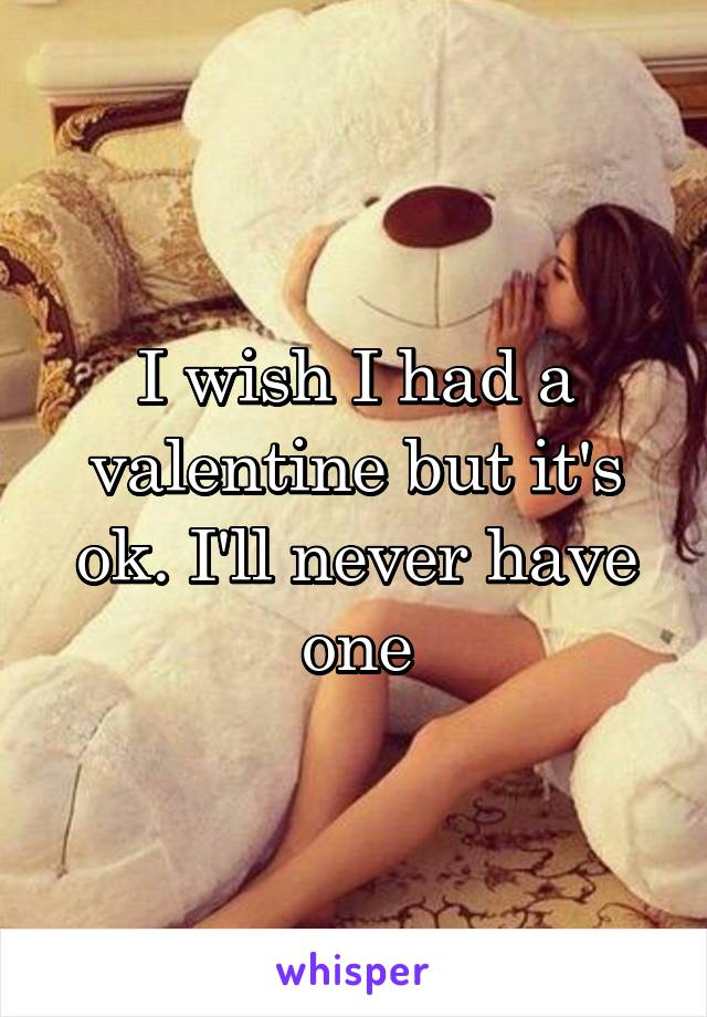 I wish I had a valentine but it's ok. I'll never have one