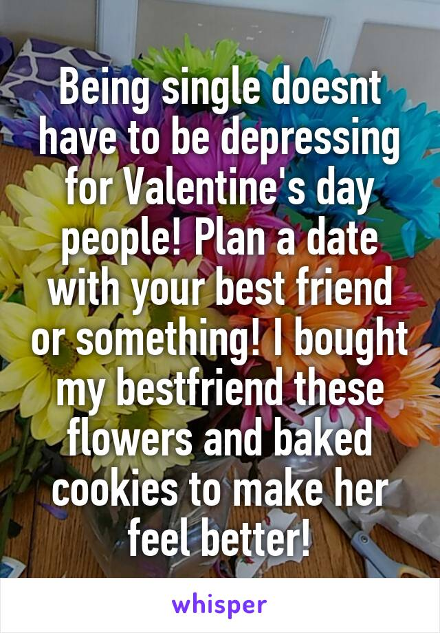 Being single doesnt have to be depressing for Valentine's day people! Plan a date with your best friend or something! I bought my bestfriend these flowers and baked cookies to make her feel better!