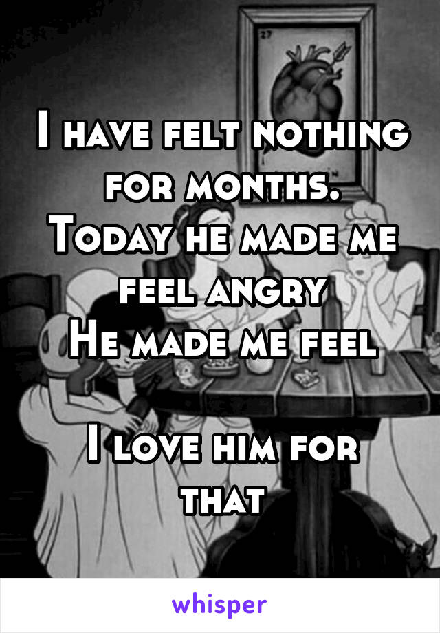 I have felt nothing for months. Today he made me feel angry He made me feel  I love him for that