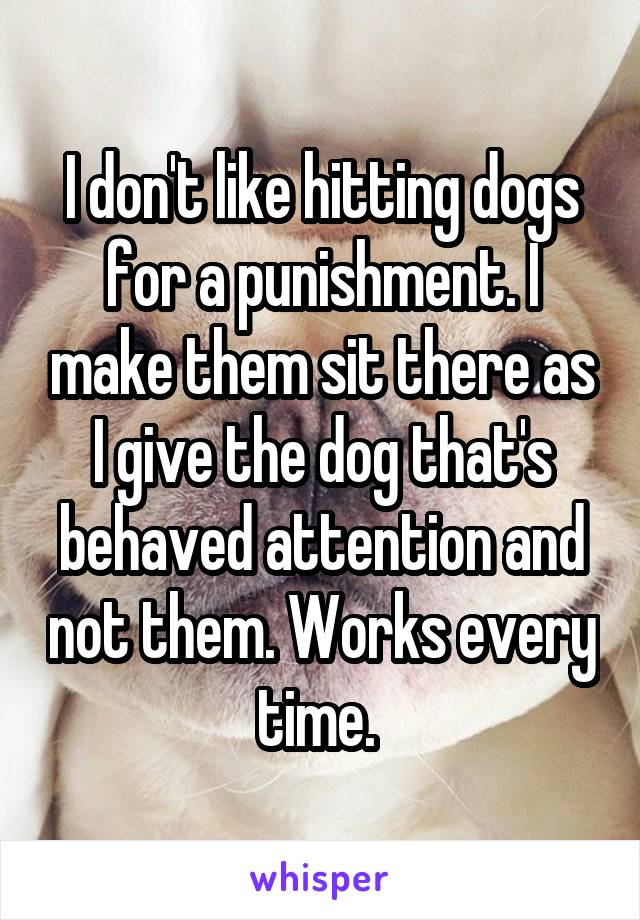 I don't like hitting dogs for a punishment. I make them sit there as I give the dog that's behaved attention and not them. Works every time.