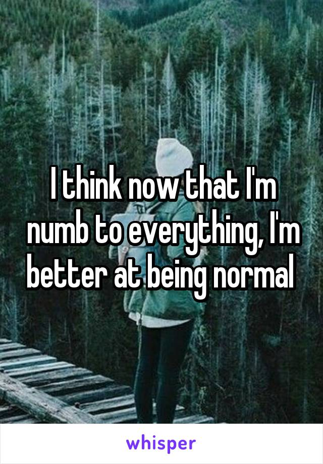 I think now that I'm numb to everything, I'm better at being normal