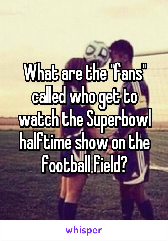"What are the ""fans"" called who get to watch the Superbowl halftime show on the football field?"