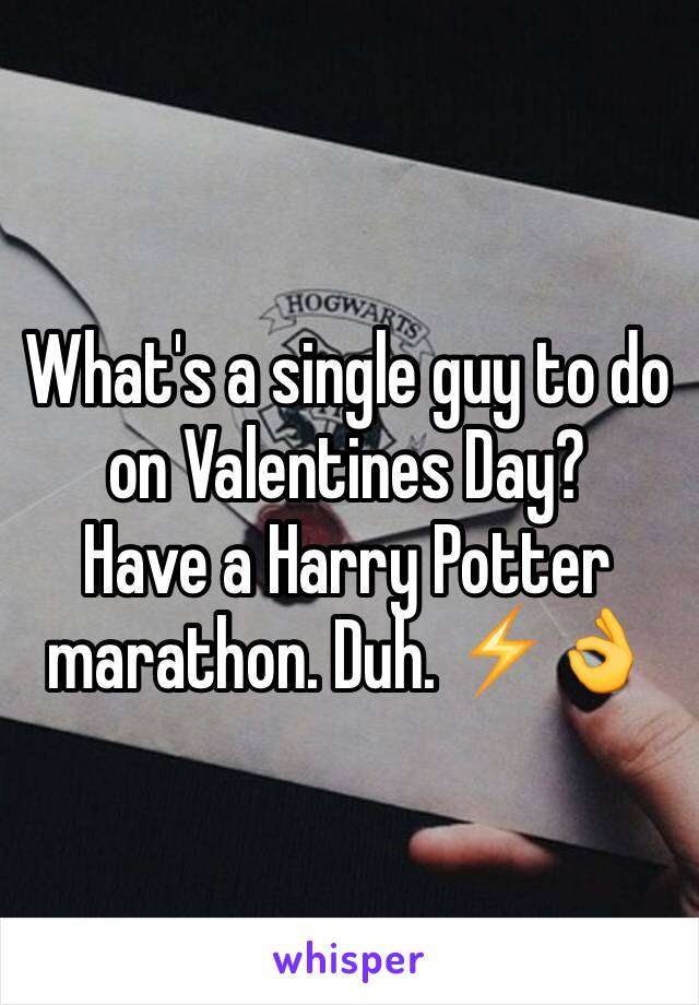 What's a single guy to do on Valentines Day? Have a Harry Potter marathon. Duh. ⚡️👌