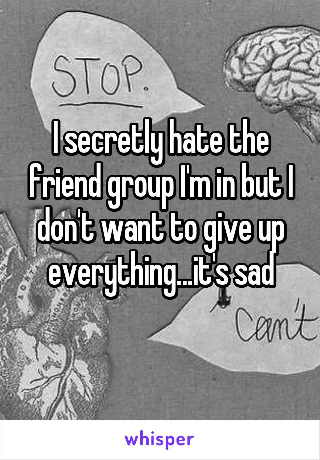 I secretly hate the friend group I'm in but I don't want to give up everything...it's sad