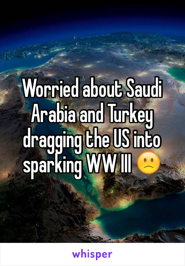 Worried about Saudi Arabia and Turkey dragging the US into sparking WW III 🙁