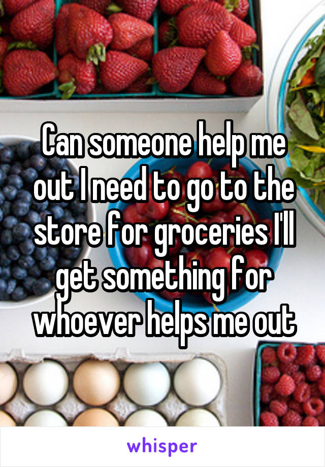 Can someone help me out I need to go to the store for groceries I'll get something for whoever helps me out
