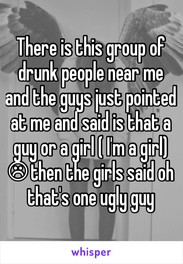 There is this group of drunk people near me and the guys just pointed at me and said is that a guy or a girl ( I'm a girl) ☹ then the girls said oh that's one ugly guy