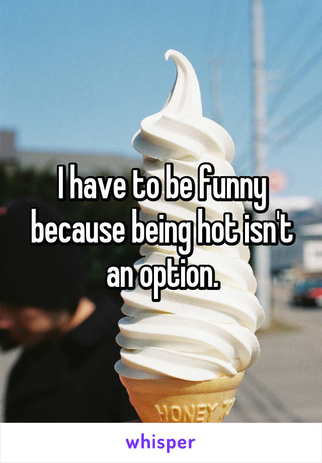 I have to be funny because being hot isn't an option.