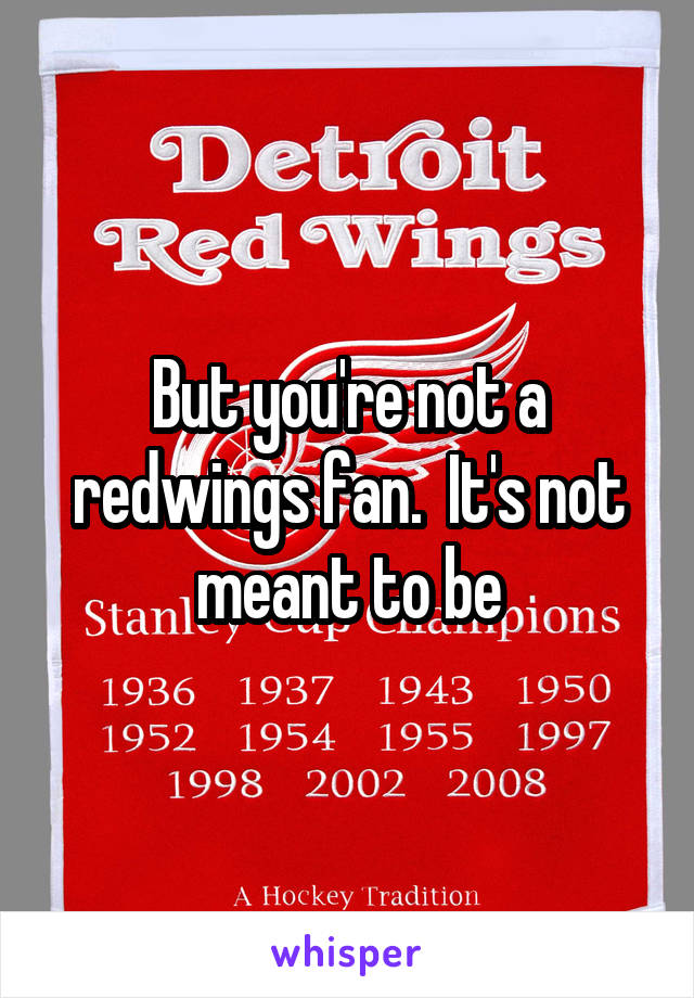 But you're not a redwings fan.  It's not meant to be