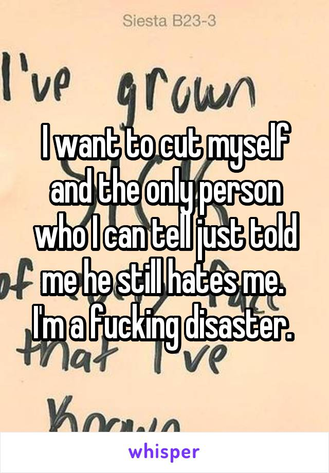 I want to cut myself and the only person who I can tell just told me he still hates me.  I'm a fucking disaster.