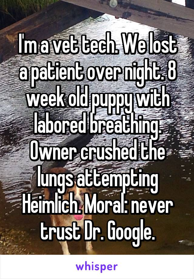 I'm a vet tech. We lost a patient over night. 8 week old puppy with labored breathing. Owner crushed the lungs attempting Heimlich. Moral: never trust Dr. Google.