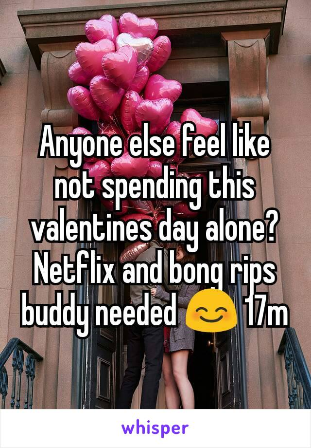 Anyone else feel like not spending this valentines day alone? Netflix and bong rips buddy needed 😊 17m