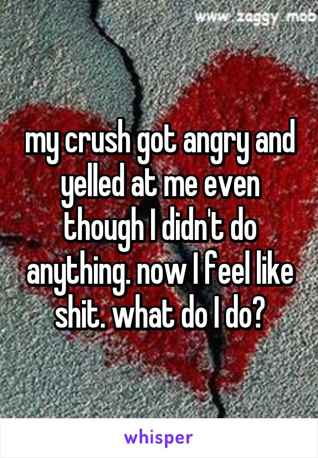 my crush got angry and yelled at me even though I didn't do anything. now I feel like shit. what do I do?
