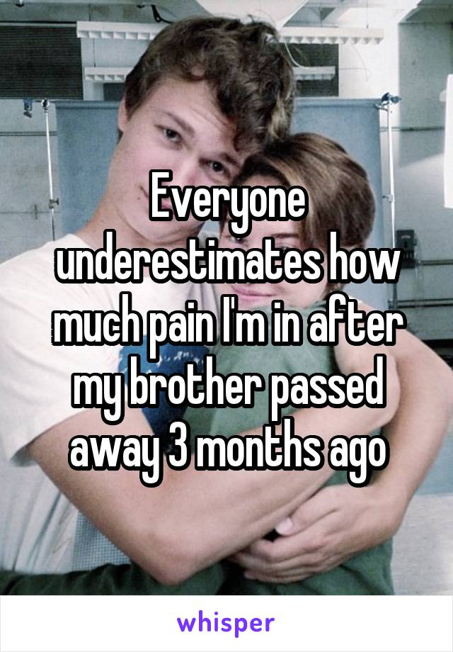 Everyone underestimates how much pain I'm in after my brother passed away 3 months ago