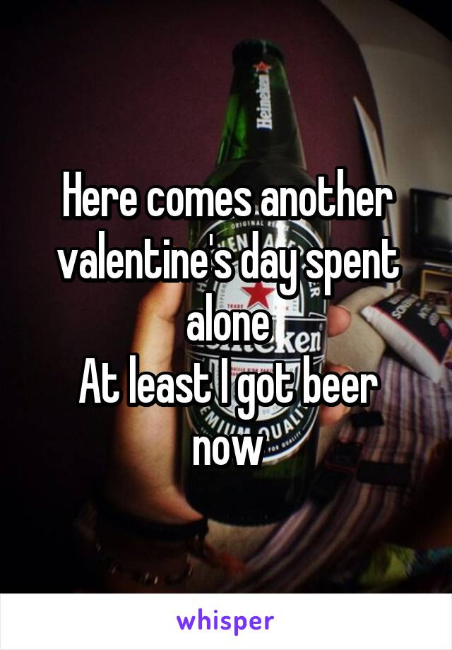 Here comes another valentine's day spent alone At least I got beer now