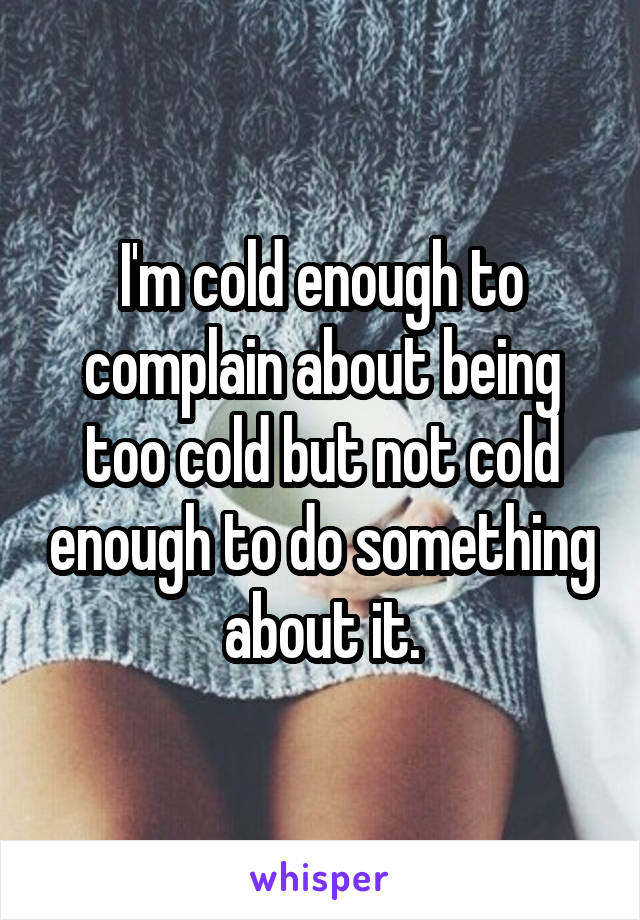 I'm cold enough to complain about being too cold but not cold enough to do something about it.
