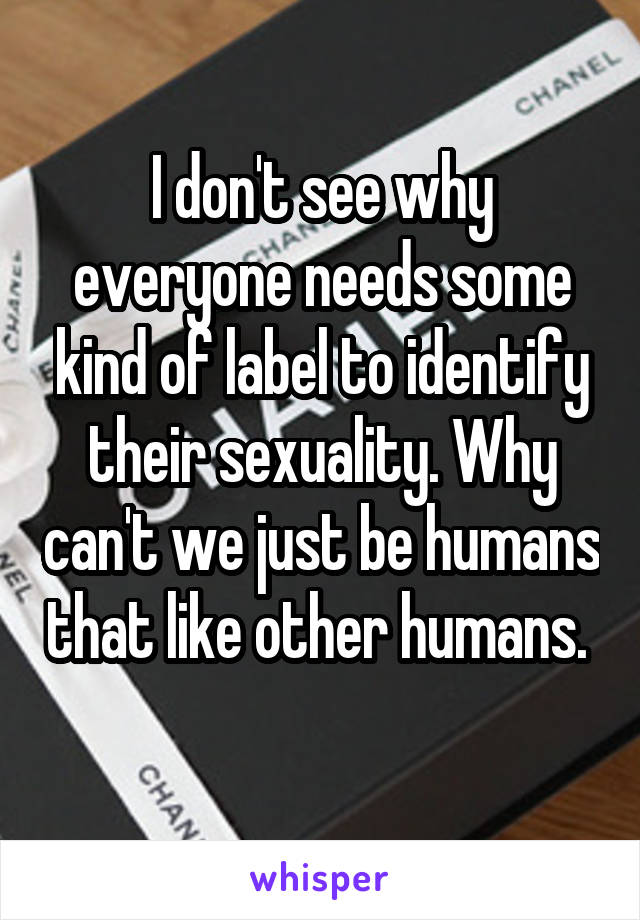 I don't see why everyone needs some kind of label to identify their sexuality. Why can't we just be humans that like other humans.