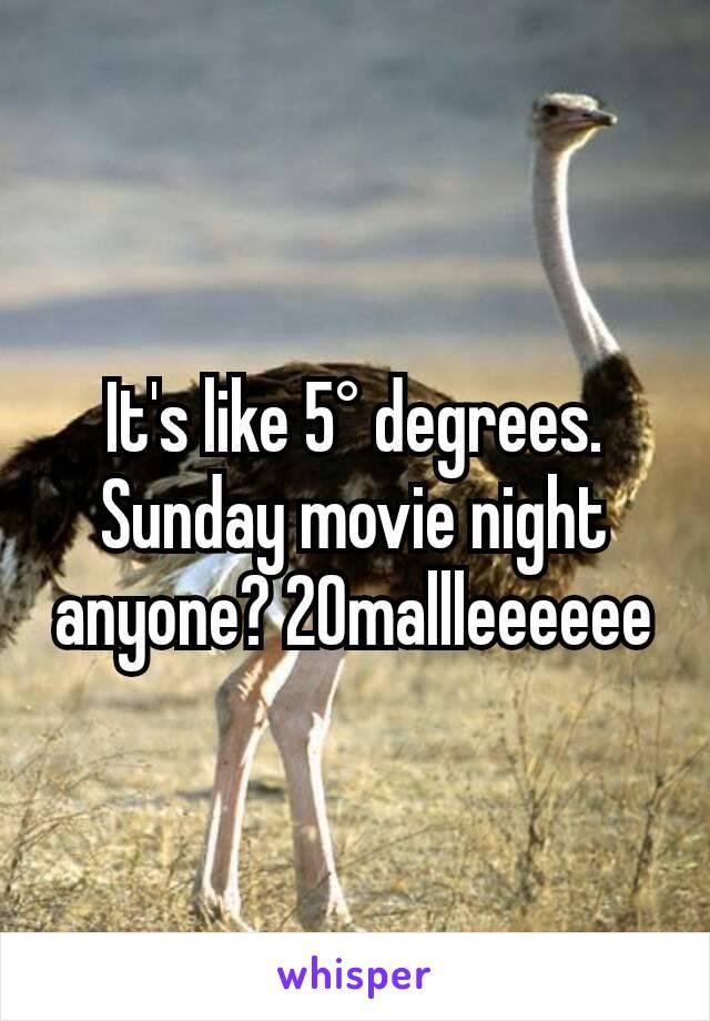 It's like 5° degrees. Sunday movie night anyone? 20mallleeeeee